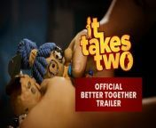 It Takes Two is the new co-op adventure from the award-winning creators of A Way Out and Brothers: A Tale of Two Sons. Friends join online co-op for free*. Pre-order now: https://www.ea.com/de-de/games/it-takes-two/buy<br/><br/>Magically turned into dolls by their daughter Rose, Cody and May are challenged by a cheesy self-help book on love – Dr. Hakim – to fix their broken relationship. Innovative gameplay, emotional storytelling, and laugh-out-loud moments merge in this genre-bending platform adventure made exclusively for co-op.<br/><br/>It Takes Two is released on March 26, 2021 on PlayStation 4, PlayStation 5, Xbox One, Xbox Series X/S, and PC (Origin, Steam): https://www.ea.com/games/it-takes-two<br/><br/>About It Takes Two:<br/><br/>PURE CO-OP PERFECTION – Invite a friend to join online co-op for free with Friend's Pass*, and experience a thrilling adventure built purely for two. Choose from online or couch co-op with split-screen play, and face ever-changing challenges where working together is the only way forward.<br/><br/>GLEEFULLY DISRUPTIVE GAMEPLAY – From rampaging vacuum cleaners to suave love gurus – with It Takes Two, you never know what you're up against next. Filled with genre-bending challenges and new character abilities to master in every level, you'll experience a metaphorical merging of gameplay and narrative that pushes the boundaries of interactive storytelling. <br/><br/>A UNIVERSAL TALE OF RELATIONSHIPS – Discover a lighthearted and touching story of the challenges in getting along. Help Cody and May learn how to overcome their differences. Meet a diverse cast of strange and endearing characters. Join forces, and go on an adventure you'll treasure – together!<br/><br/>*Friend's Pass requires installation of the Friend's Pass (Free Trial or Demo on Xbox/PlayStation) and one online Friend who owns the game on the same platform and/or next gen platform. Learn more about Friend's Pass here: https://www.ea.com/de-de/games/it-takes-two/about/fr